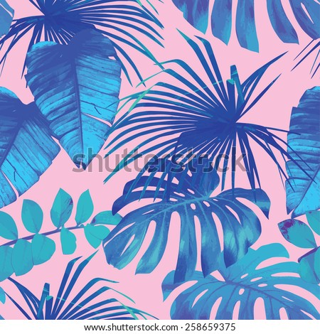 tropical leaves seamless background - stock vector