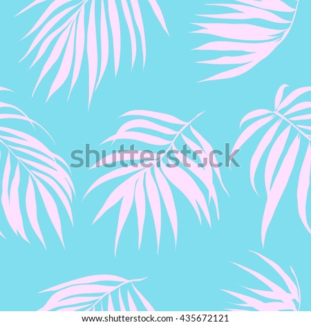 Tropical leaves seamless pattern backgrounds. Retro color fashion design. Vector illustration