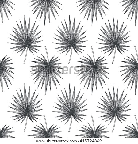 Tropical leaves. Seamless Pattern. Jungle background. Palm leaves. Vector illustration
