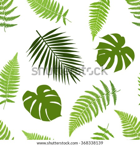 Tropical leaves seamless pattern. Vector illustration. - stock vector