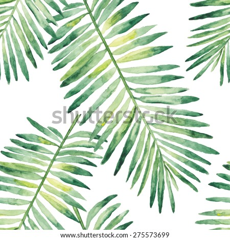 Tropical leaves watercolor. Seamless vector pattern - stock vector
