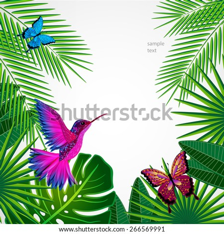 Tropical leaves with birds, butterflies. Floral design background with colibri. - stock vector