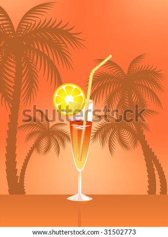 Tropical Martini Glass - Isolated on Orange Background - stock vector