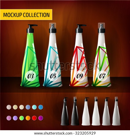 Tropical Mockup template bottles for branding and product designs - stock vector