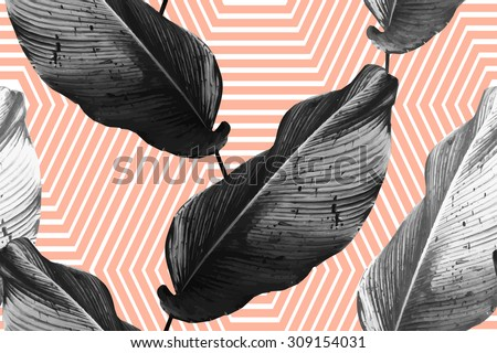 Tropical monochrome jungle palm leaves. Beautiful vector seamless fashionable floral exotic pattern background. Abstract stripped geometric texture - stock vector