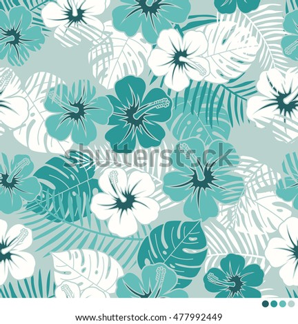 Tropical monochrome mint green camouflage background with hibiscus flowers and leaves