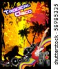Tropical Music Event Disco Flyer with rainbow colours - stock