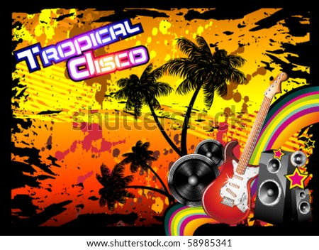 Tropical Music Event Disco Flyer with rainbow colours - stock vector