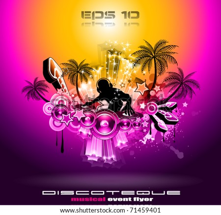 Tropical Music Party Disco Flyer with Sunset Magic lights - stock vector