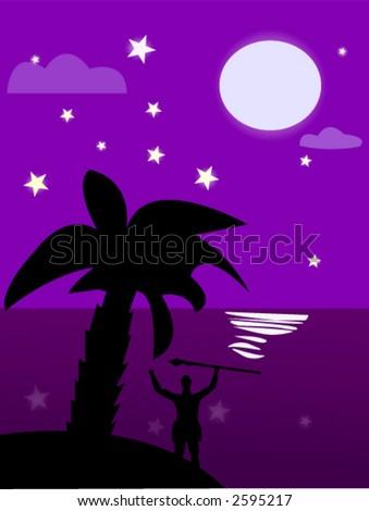 Tropical night - stock vector