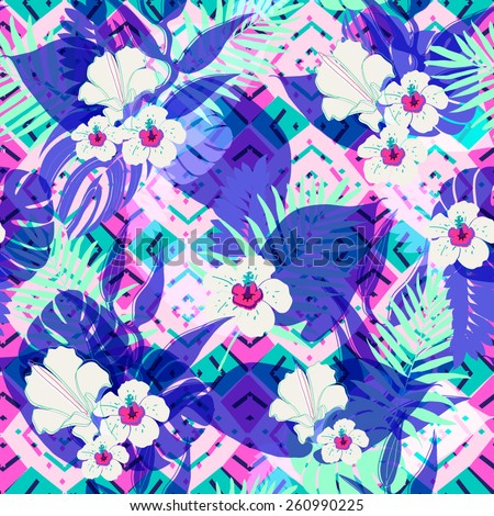 Tropical palm leaf pattern with geometric background.Fashion floral neon colored texture for design. - stock vector