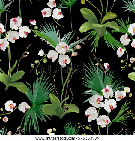 Tropical Palm Leaves and Orchid Flowers Background. Seamless Pattern in Vector