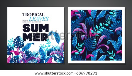 Tropical palm leaves background invitation card stock vector hd tropical palm leaves background invitation or card design with jungle leaves vector illustration in stopboris Images