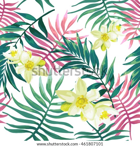 Tropical palm leaves, fern, jungle leaves and white flowers. Seamless pattern.