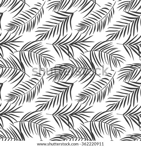 tropical palm leaves isolated on white. Seamless pattern. Vector illustration - stock vector