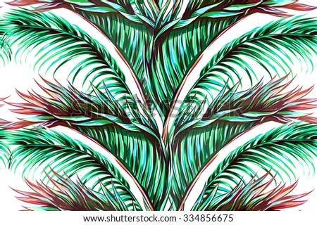 Tropical palm leaves, jungle leaves, tree seamless vector floral pattern background - stock vector
