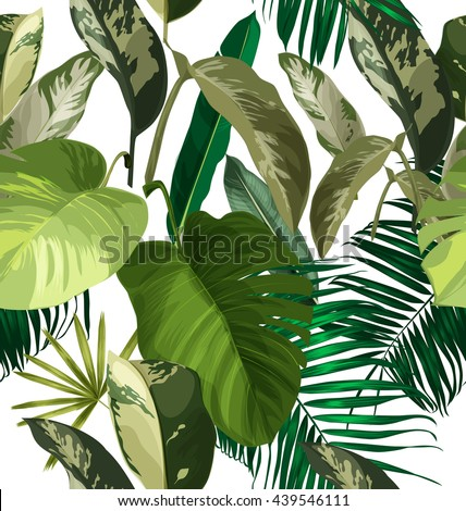 Tropical palm leaves  seamless pattern .