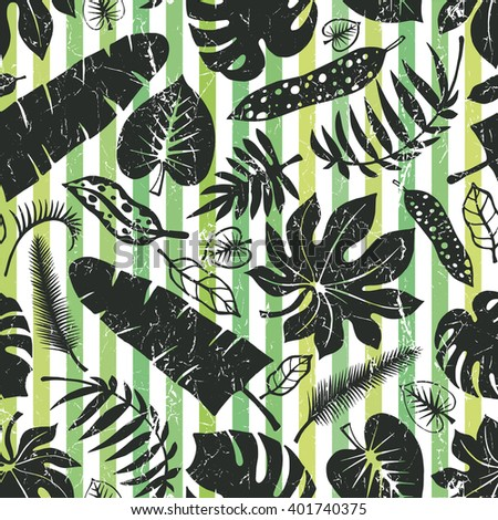 Tropical palm leaves seamless pattern.Vector summer leaf Silhouette,strips background.Tropic leaves.Tree branches.Exotic graphic illustration,tropic paradise wallpaper,fabric.Summer vacation,holiday - stock vector