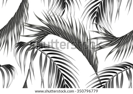 Tropical palm leaves seamless vector floral jungle pattern background - stock vector