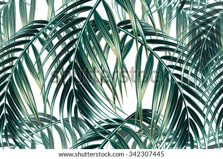 Tropical palm leaves seamless vector floral pattern background - stock vector