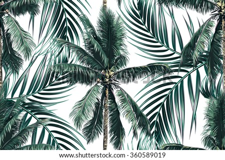 Tropical palm leaves, trees seamless vector floral pattern background - stock vector