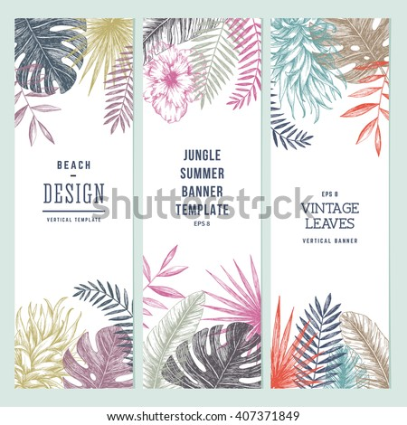 Tropical palm leaves. Vertical banner set. Vector illustration - stock vector