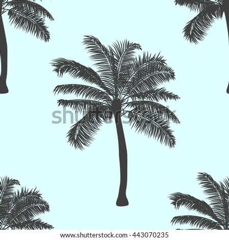 Tropical palm pattern  background. vector illustration. realistic tree silhouette background. hand drawn style pattern seamless