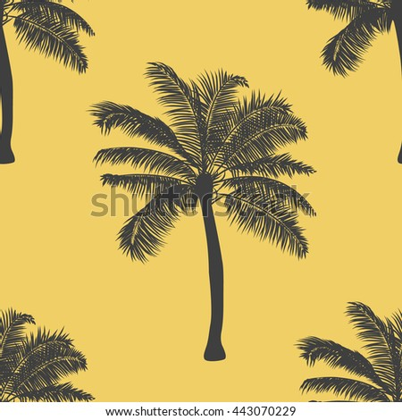 Tropical palm seamless pattern background. vector illustration. realistic tree silhouette background. hand drawn style tropic pattern seamless