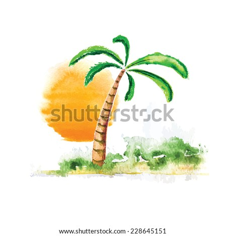 Tropical Palm Tree and Sun, watercolour vector illustration - stock vector