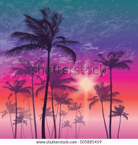 Tropical palm tree and sunset sky vector illustration