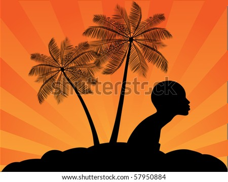 Tropical palms and African girl