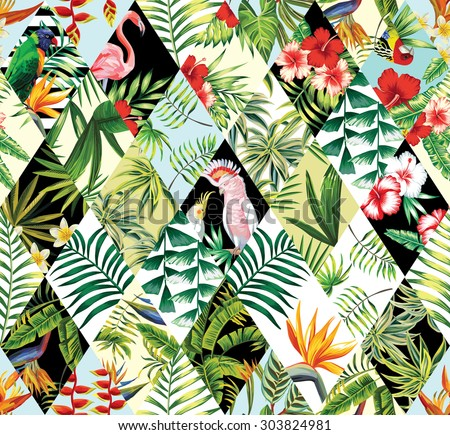 tropical patchwork seamless background - stock vector
