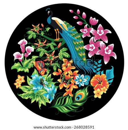 Tropical pattern with peacocks and flowers. - stock vector