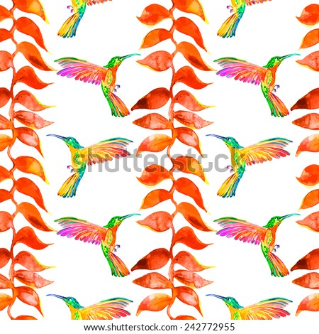 Tropical plants and birds. Seamless pattern. Hummingbirds and Heliconia caribaea.Watercolor. Vector.Isolated. - stock vector