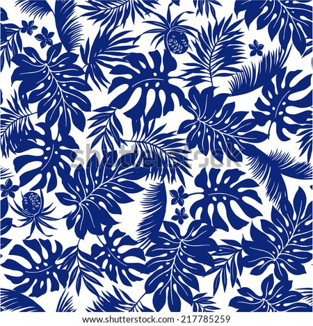 tropical plants pattern - stock vector