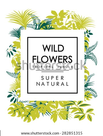Tropical print with slogan for t-shirt print or other uses in vector - stock vector