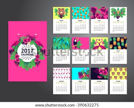 Tropical printable calendar 2017 with flamingo, exotic flowers and ...