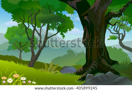 TROPICAL RAIN FOREST TREES IN SUMMER - stock vector