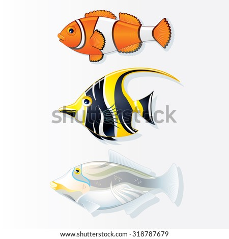 Tropical Reef Fishes. Clown Fish. Moorish Idol and Trigger Fish. Vector Collection - stock vector