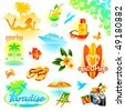 Tropical resort, travel and exotic holidays vector set - stock vector