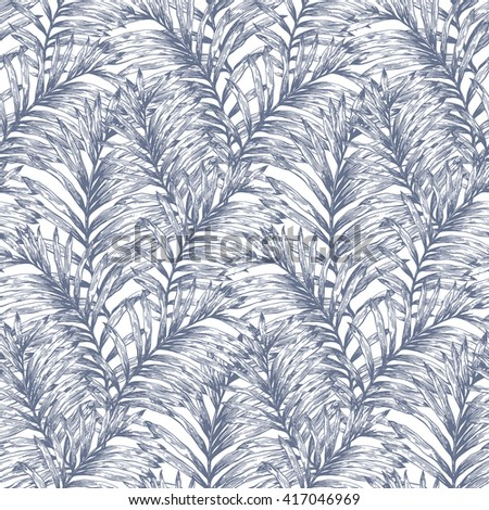 Tropical retro palm leaves vector seamless pattern. Botanical hand drawn background, wallpaper, fabric, textile, wrapping paper. - stock vector