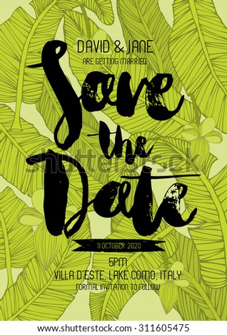 tropical save the date invitation card template vector/illustration - stock vector