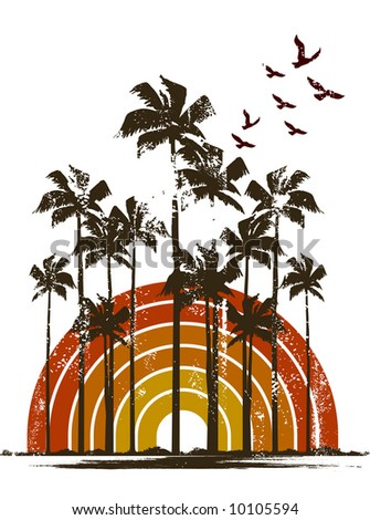 Tropical Scene - stock vector
