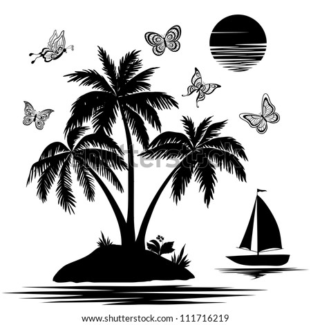 Tropical sea island with palm trees and flowers, ship, butterflies and sun. Set black silhouettes and contours on white background. Vector - stock vector