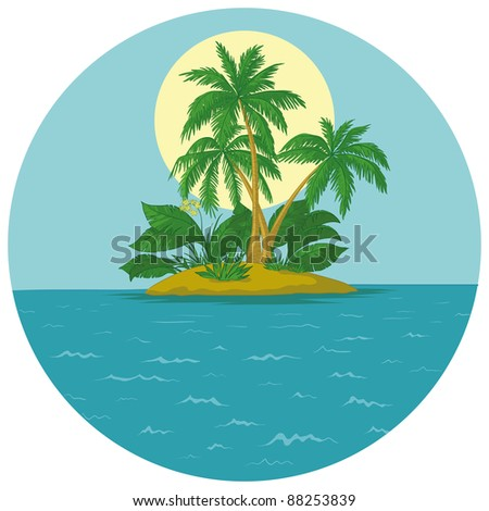 Tropical sea island with palm trees and sun. Vector