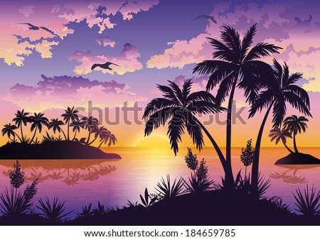 Tropical sea landscape, black silhouettes islands with palm trees and flowers, clouds, sky with clouds, sun and birds gulls. Eps10, contains transparencies. Vector - stock vector
