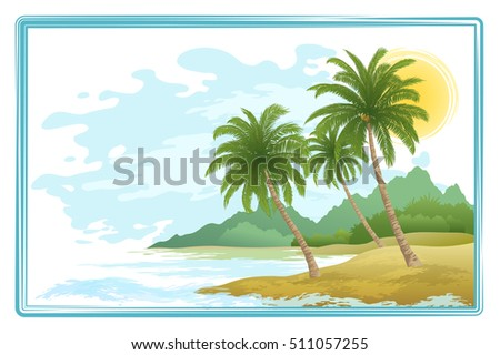 Tropical Sea Landscape, Green Exotic Palm Trees, Sky with Clouds and Sun. Eps10, Contains Transparencies. Vector
