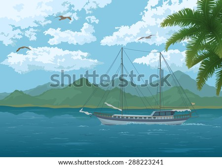 Tropical Sea Landscape, Sailboat Ship, Mountains, Palm Tree Branches, Sky with Clouds and Birds Gulls. Vector - stock vector