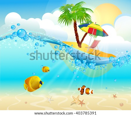 Tropical sea natural background. Ocean island and underwater view with colorful fish - stock vector