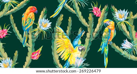 Tropical seamless background exotic flowers,tropical fruits,cactus flowers and parrots. Macaw seamless pattern. Vector. - stock vector